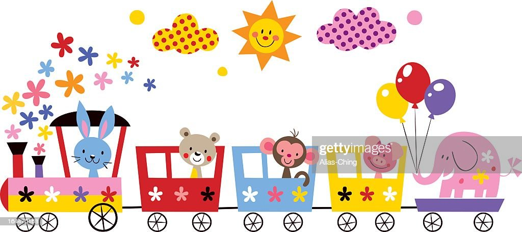 A cartoon image of animals riding in a train