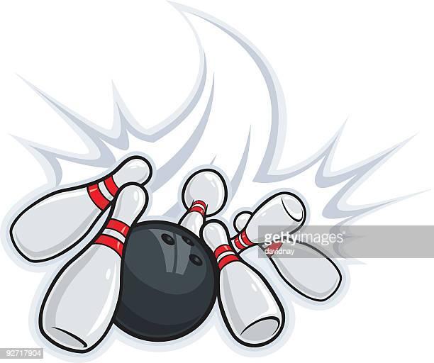 Cartoon image of bowling ball and bowling pins
