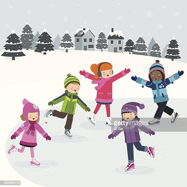 cartoon image of children ice skating on frozen lake - ice skating stock illustrations, clip art, cartoons, & icons