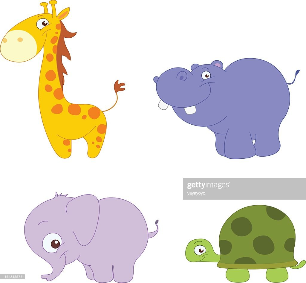 A cartoon image of different animals