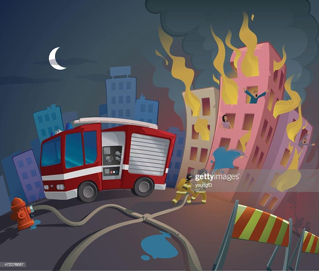 Cartoon image of fireman saving people from fire : stock illustration