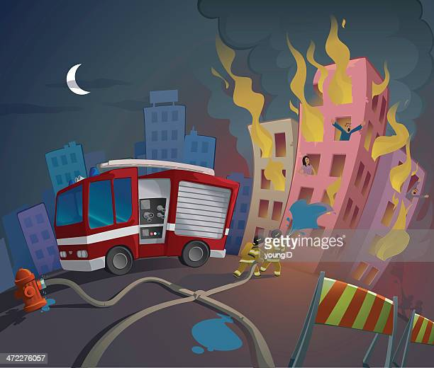 Cartoon image of fireman saving people from fire