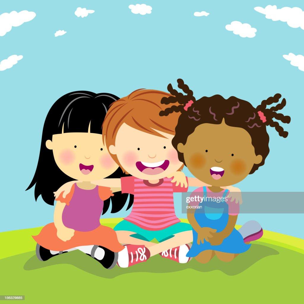 Felici amici : Illustrazione stock