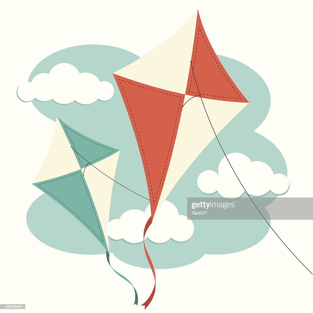 A cartoon image of kites and clouds