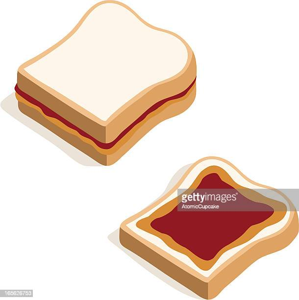 cartoon image of peanut butter and jelly sandwiches - peanut butter and jelly sandwich stock illustrations