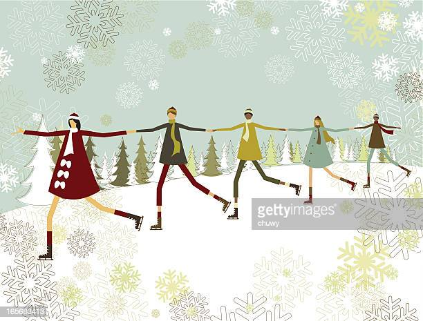 A cartoon image of people holding hands for Christmas