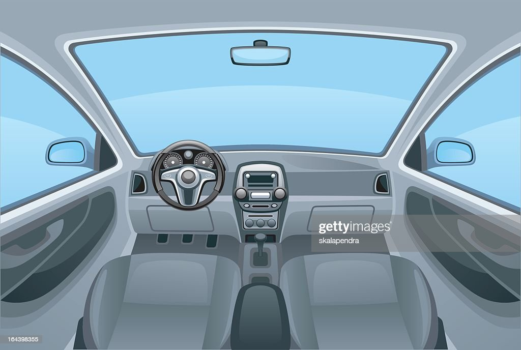 A cartoon image of the inside of a car
