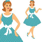 Cartoon images of a 1950's style woman in a blue dot dress