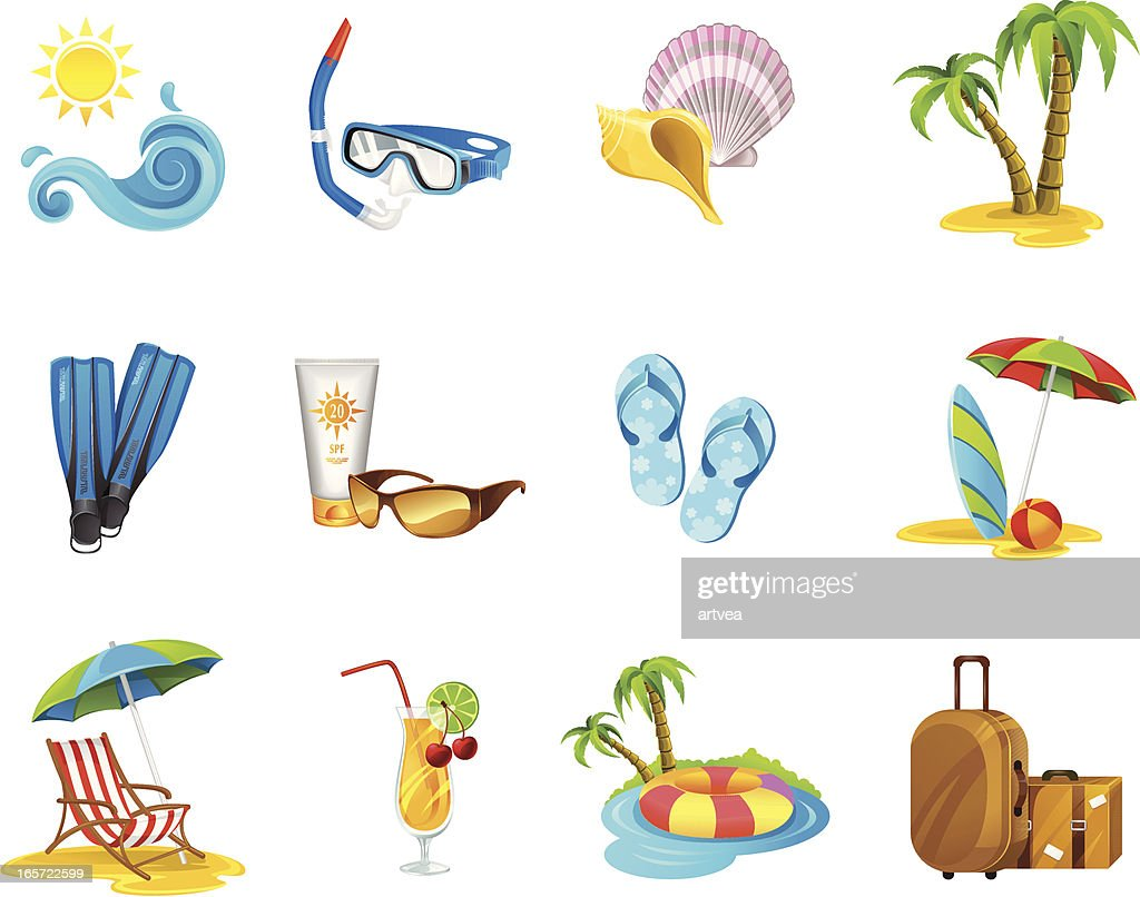 Cartoon images of a vacation icon set
