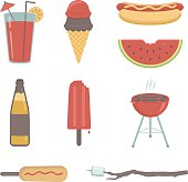 Cartoon images of common summer beverages and foods