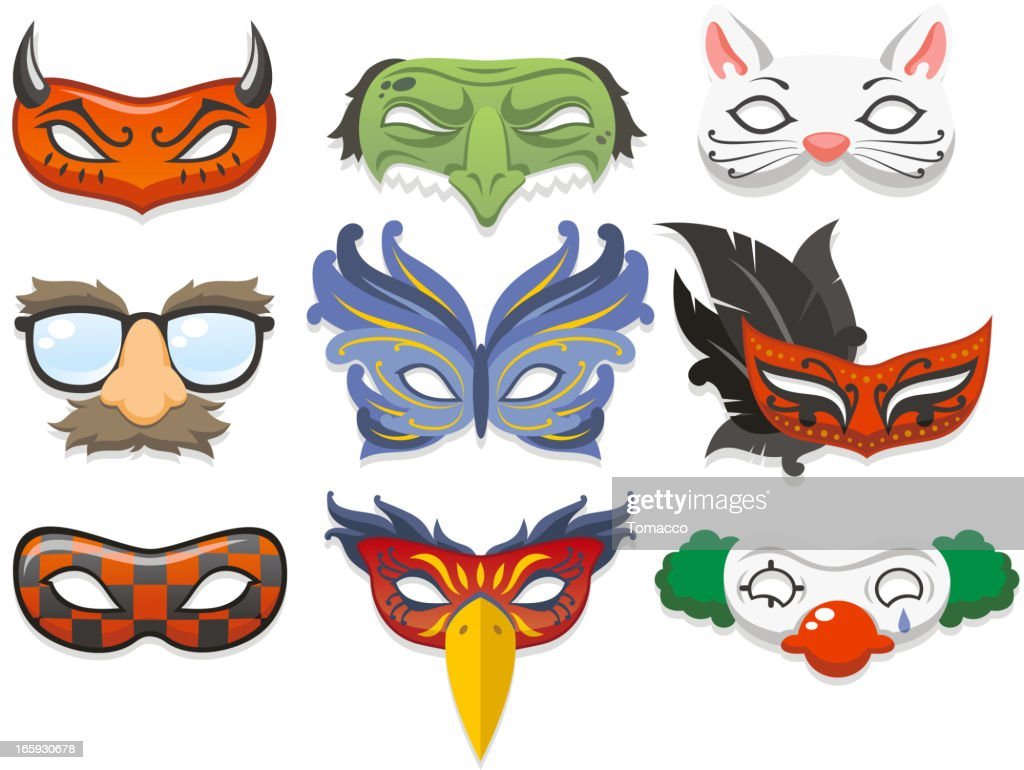 Cartoon images of masquerade masks