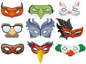 Cartoon images of masquerade masks
