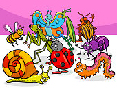 cartoon insects and bugs characters group