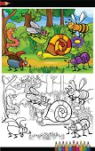 cartoon insects or bugs for coloring book