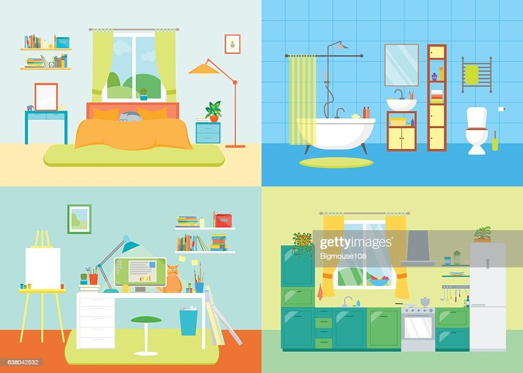 Cartoon Interior Basic Room of Home. Vector