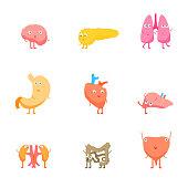 Cartoon Internal Organs Funny Emotions Set. Vector