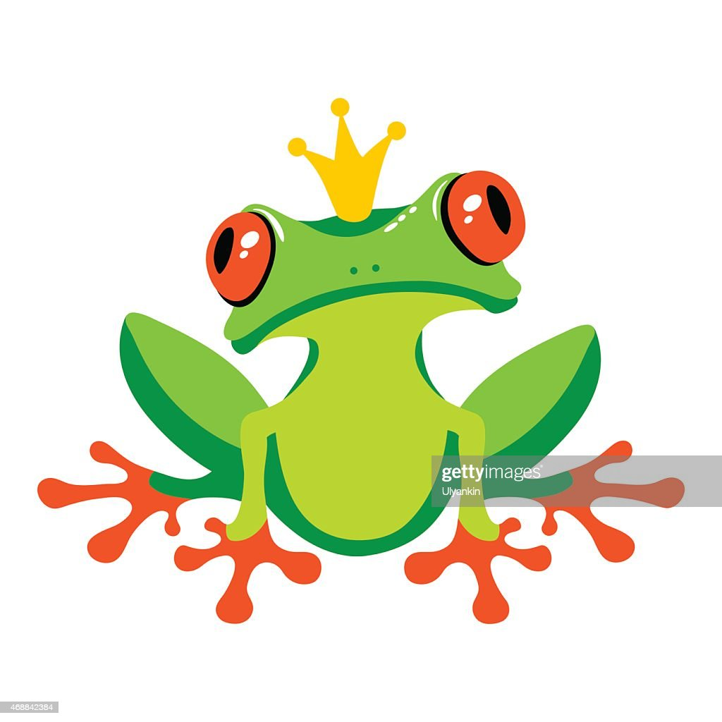 Cartoon isolated frog with crown