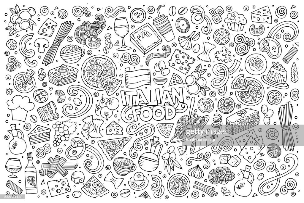 Cartoon italian food objects set