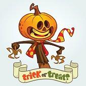Cartoon Jack-o-lantern. Halloween vector illustration. Postcard or poster for party