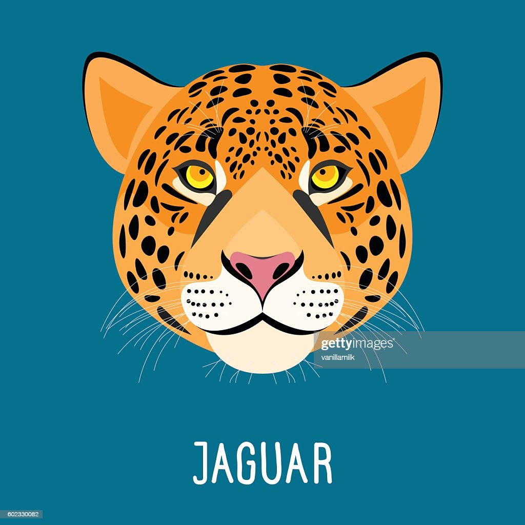 Cartoon jaguar portrait isolated on blue.