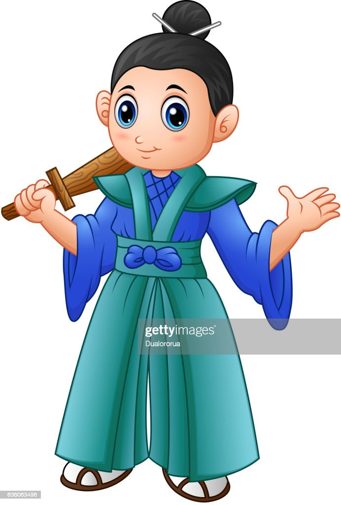 Cartoon japanese samurai warrior with wooden sword