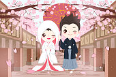 cartoon japanese wedding couple