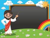 Cartoon jesus teaching stick blank blackboard chalkboard meadow