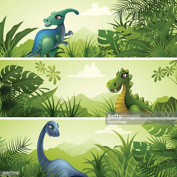cartoon jurassic banners - thyreophora stock illustrations, clip art, cartoons, & icons