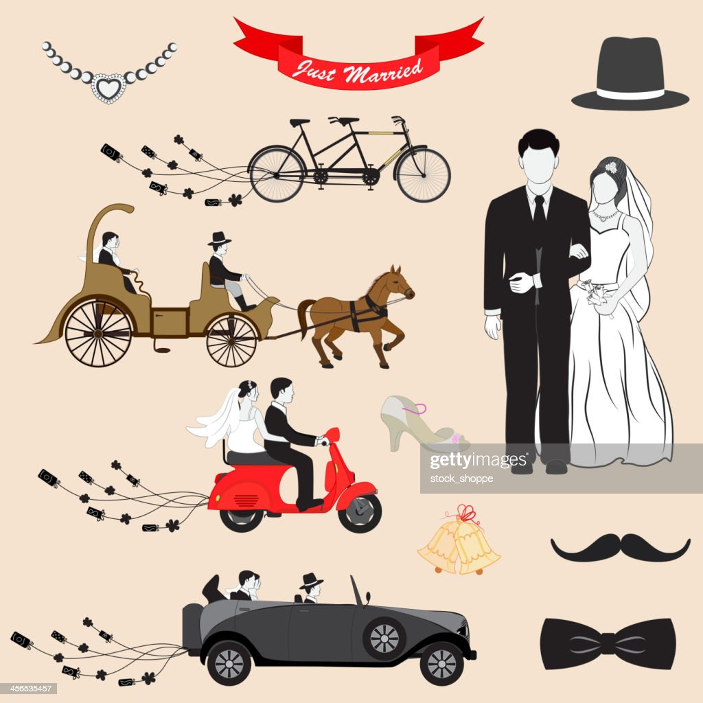 Cartoon Just Married icons of bride and groom with transport