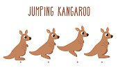 Cartoon kangaroo jumping