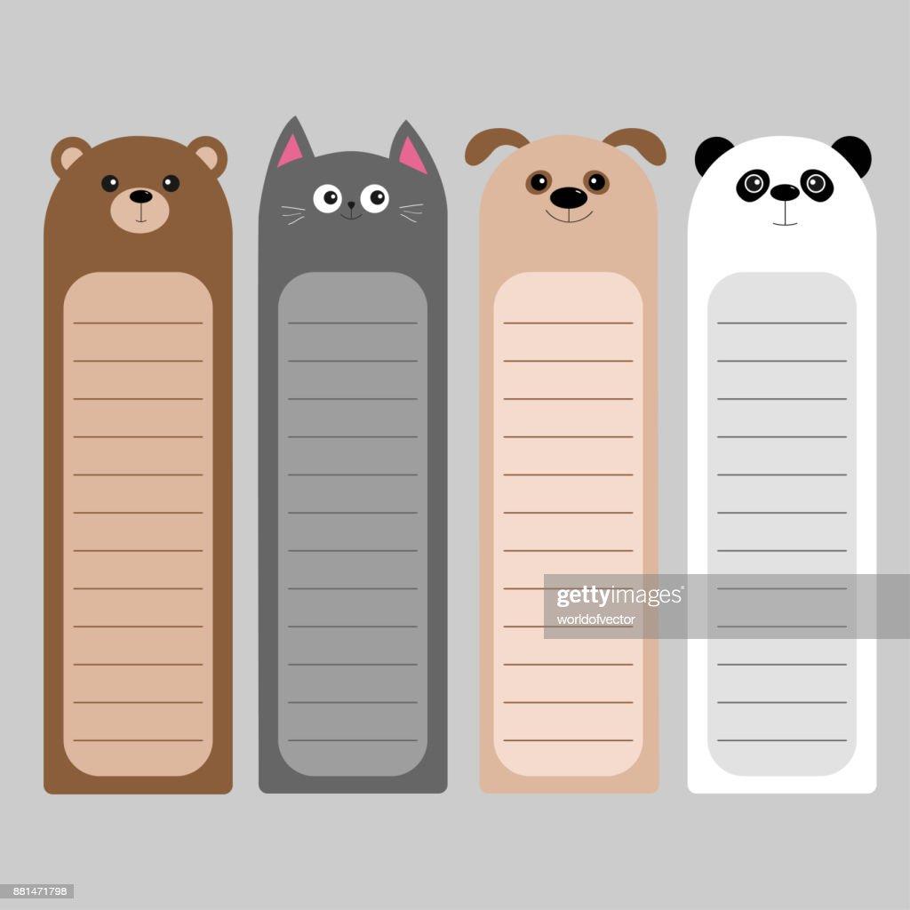 Cartoon kawaii baby bear, cat, dog, panda. Animal head set. Bookmark paper sticker collection. Notepad template. Flat design. Gray background.
