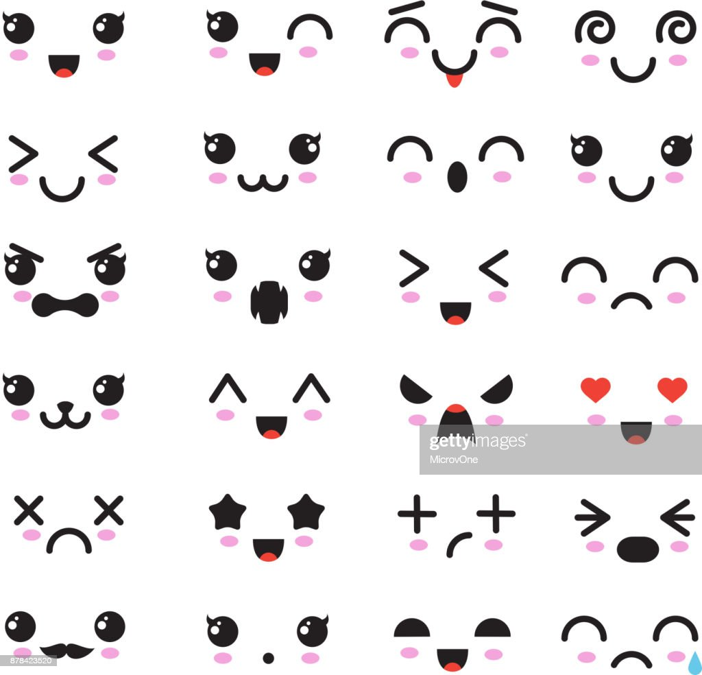 Cartoon kawaii eyes and mouths. Cute emoticon emoji characters in japanese style