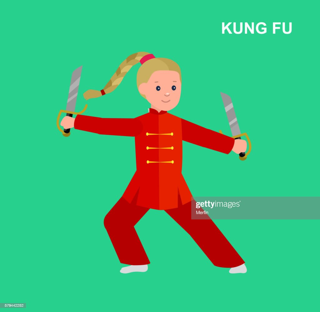 Cartoon kid wearing kimono, martial art