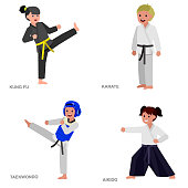 Cartoon kid wearing kimono, martial art