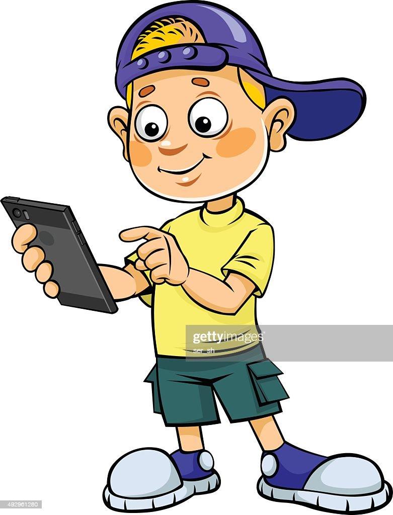 Cartoon kid with mobile phone