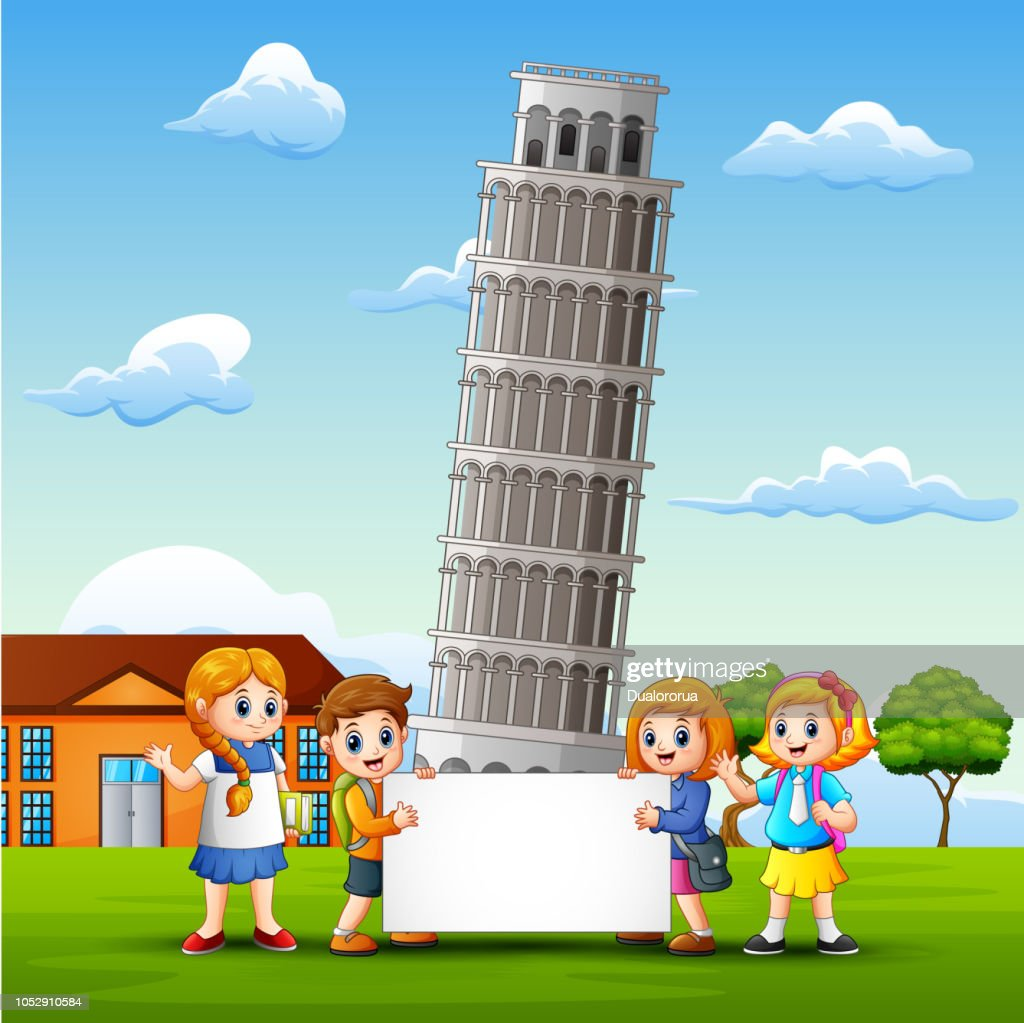 Cartoon kids bring a whiteboard in front of pisa tower background