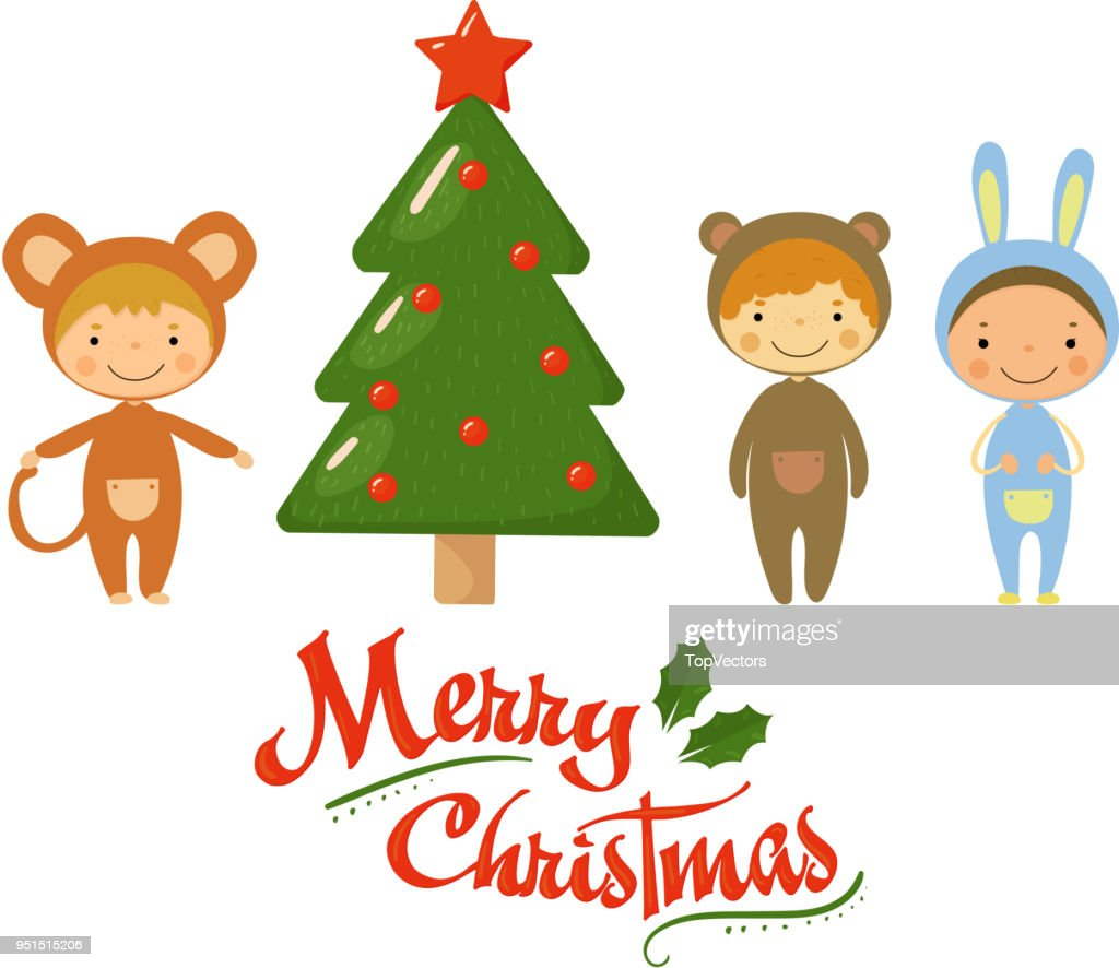 Cartoon kids characters in carnival costumes standing near green holiday tree. Merry Christmas theme. Flat vector design for party invitation or greeting card