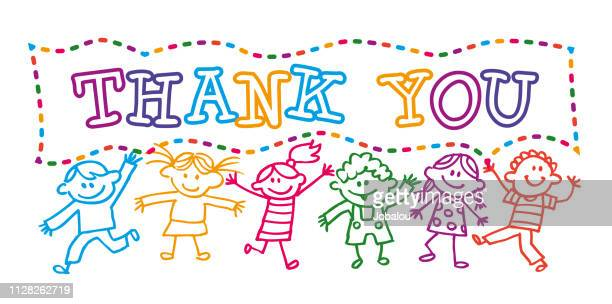 cartoon kids holding a thank you banner message - banner sign stock illustrations