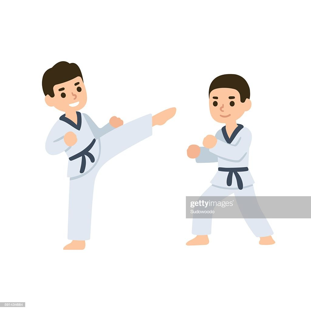 Cartoon kids martial arts