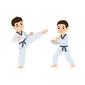 Cartoon kids martial arts