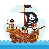 Cartoon kids pirate ship sailing sea