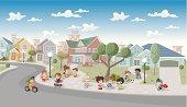 cartoon kids playing in the street