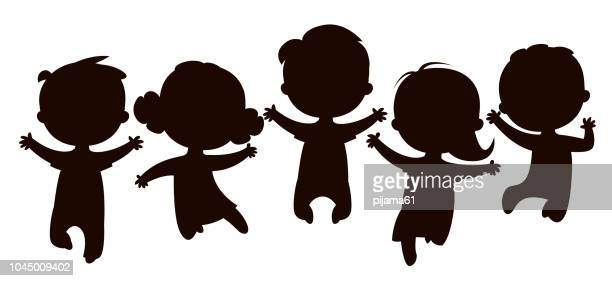 cartoon kids silhouettes jumping - jumping stock illustrations
