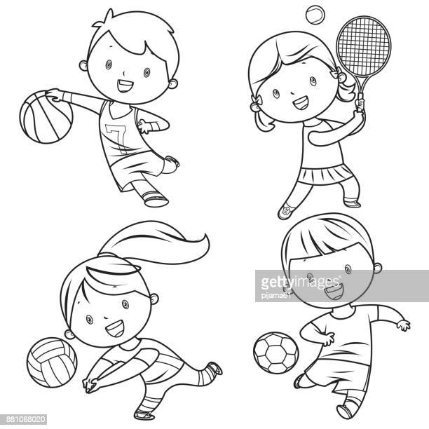 cartoon kids sports characters drawing - sport set competition round stock illustrations