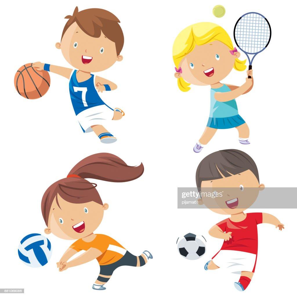 Dibujos animados personajes de deportes a los niños : Ilustración de stock