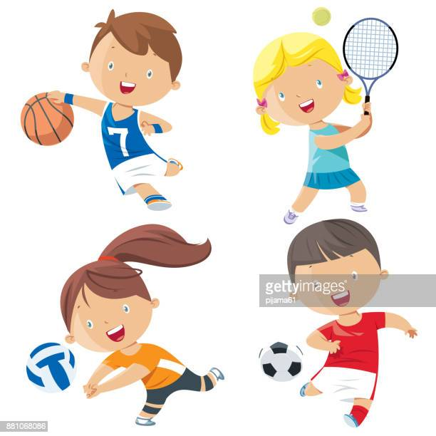 illustrazioni stock, clip art, cartoni animati e icone di tendenza di cartoon kids sports characters - termine sportivo