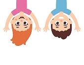 Cartoon kids upside down