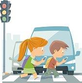 Cartoon Kids Walking With Smart Phone