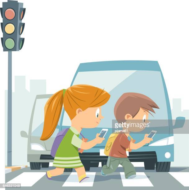 cartoon kids walking with smart phone - pedestrian stock illustrations, clip art, cartoons, & icons