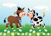 Cartoon kissing cows in love